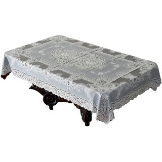 Katwa Clasic - 36 x 54 Inches Fancy Lace Vinyl Tablecloth (Brown)