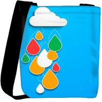 Snoogg Bstract Rainy Season Background With Cloud And Colorful Water Drops Designer Protective Back Case Cover For Oneplus 3 Designer Womens Carry Around Cross Body Tote Handbag Sling Bags RPC-4065-SLTOBAG