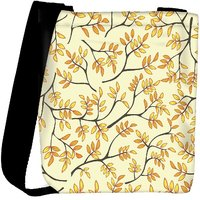 Snoogg Multicolor Leaves Lite Pattern Designer Womens Carry Around Cross Body Tote Handbag Sling Bags RPC-9889-SLTOBAG