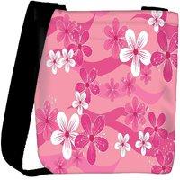 Snoogg Floral Pink Pattern Designer Womens Carry Around Cross Body Tote Handbag Sling Bags RPC-9914-SLTOBAG