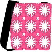Snoogg White Floral Pink Designer Womens Carry Around Cross Body Tote Handbag Sling Bags RPC-10239-SLTOBAG