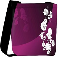 Snoogg Abstract Vector Wallpaper Of Floral Themes In Gradient Purple Designer Protective Back Case Cover For Oneplus 3 Designer Womens Carry Around Cross Body Tote Handbag Sling Bags RPC-3864-SLTOBAG