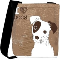 Snoogg Cute Jack Russell Terrier Brilliant Card For Doglovers Designer Protective Back Case Cover For Oneplus 3 Designer Womens Carry Around Cross Body Tote Handbag Sling Bags RPC-4252-SLTOBAG
