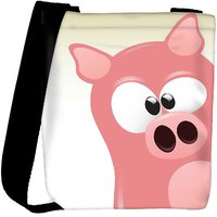 Snoogg Cute Pig Character Designer Protective Back Case Cover For Oneplus 3 Designer Womens Carry Around Cross Body Tote Handbag Sling Bags RPC-4256-SLTOBAG