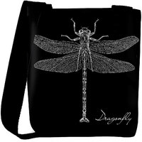 Snoogg Detailed Dragonfly Vector Designer Protective Back Case Cover For Oneplus 3 Designer Womens Carry Around Cross Body Tote Handbag Sling Bags RPC-4280-SLTOBAG