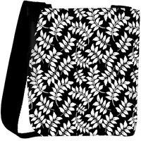 Snoogg White Leaf Black Pattern Designer Womens Carry Around Cross Body Tote Handbag Sling Bags RPC-9916-SLTOBAG