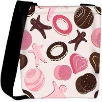 Snoogg Pink Chocolates Designer Womens Carry Around Cross Body Tote Handbag Sling Bags RPC-9945-SLTOBAG