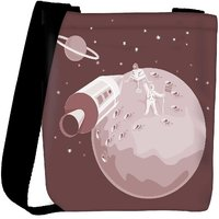 Snoogg Astronaut Landing On Moon Retro Designer Protective Back Case Cover For Oneplus 3 Designer Womens Carry Around Cross Body Tote Handbag Sling Bags RPC-3923-SLTOBAG