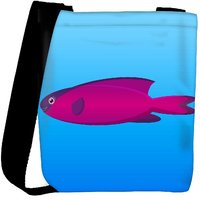 Snoogg A Vector Illustration Of A Pink And Purple Hooded Wrasse Fish On Blue Backg Designer Protective Back Case Cover For Oneplus 3 Designer Womens Carry Around Cross Body Tote Handbag Sling Bags RPC-3940-SLTOBAG