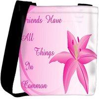 Snoogg Background With Lily Flower Designer Womens Carry Around Cross Body Tote Handbag Sling Bags RPC-3951-SLTOBAG