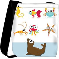 Snoogg Background With Sea Animal Designer Protective Back Case Cover For Oneplus 3 Designer Womens Carry Around Cross Body Tote Handbag Sling Bags RPC-3953-SLTOBAG