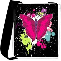 Snoogg Beautiful Butterfly On The Black Background Designer Protective Back Case Cover For Oneplus 3 Designer Womens Carry Around Cross Body Tote Handbag Sling Bags RPC-3978-SLTOBAG