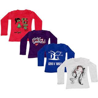 IndiWeaves Women Cotton Round Neck Full Sleeves Printed T-Shirt (Set of -4)
