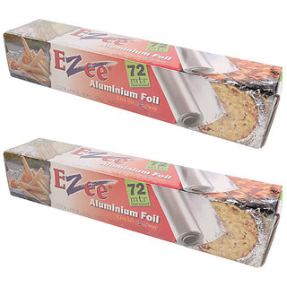 Ezee Silver Aluminium Foil Roll 72 Mtr 14 Micron Pack of 2