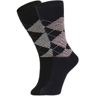 DUKK Men's Black  Navy Blue Glean Length Cotton Lycra Socks (Pack of 2)