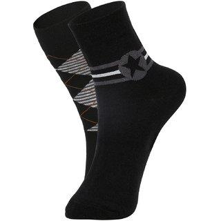 DUKK Men's Black Glean Length Cotton Lycra Socks (Pack of 2)