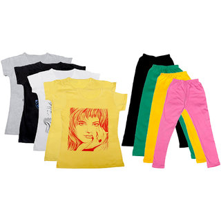 IndiWeaves Girls Cotton Leggings With T-Shirts(Pack of 4 Legging and 5 T-Shirts )Multi-ColouredGreenYellowPink30