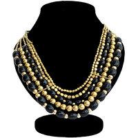 The Pari BlackGolden Plastic Non Plated Necklace Set For Women