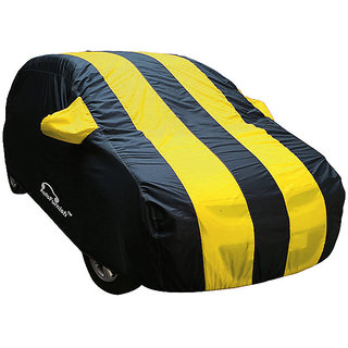 Autofurnish Stylish Yellow Stripe Car Body Cover For Hyundai Verna Fluidic 4S - Arc Yellow Blue