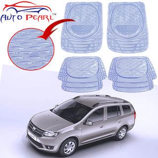 Auto Pearl - Premium Quality Heavy Duty Transparent 4Pc Pvc Rubber 6204 Clear Car Mat For - Mahindra Logan