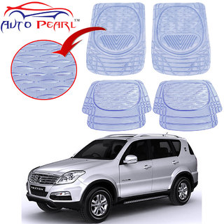 Auto Pearl - Premium Quality Heavy Duty Transparent 4Pc Pvc Rubber 6204 Clear Car Mat For - Mahindra Rexton