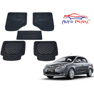 Auto Pearl - Premium Luxurious Quality Heavy Duty Light Weight Black 5Pc PVC Rubber 6255TW Car Mat For - Toyota Etios