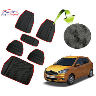 Auto Pearl - Premium Quality Ultra Thin Heavy Duty Car Floor Lamination with Boot Red Black PVC Carpet  - Ford Figo New