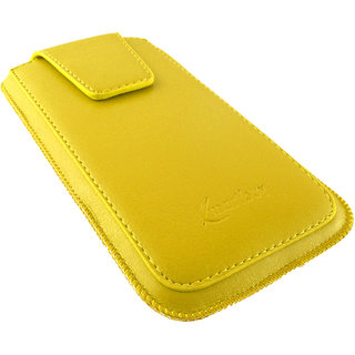 Emartbuy Sleek Range Yellow Luxury PU Leather Slide in Pouch Case Cover Sleeve Holder ( Size 3XL ) With Magnetic Flap  Pull Tab Mechanism Suitable For Salora Arya A1 plus