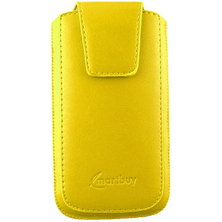 Emartbuy Sleek Range Yellow Luxury PU Leather Slide in Pouch Case Cover Sleeve Holder ( Size 3XL ) With Magnetic Flap  Pull Tab Mechanism Suitable For  Samsung Galaxy A3