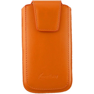 Emartbuy Sleek Range Orange Luxury PU Leather Slide in Pouch Case Cover Sleeve Holder ( Size 3XL ) With Magnetic Flap  Pull Tab Mechanism Suitable For  Samsung Galaxy Ace 4