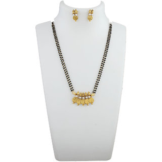 Anuradha Art Golden Colour Styled With Pearl Beads Classy Designer Mangalsutra Set For Women