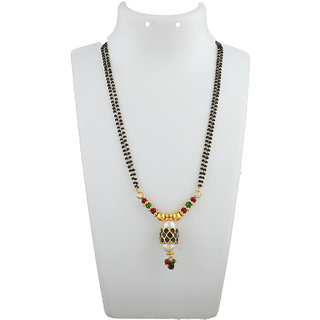 Anuradha Art Golden Colour Styled With Mina Work Mangalsutra Set For Women