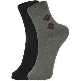 DUKK Men's Black  Green Ankle Length Cotton Lycra Socks (Pack of 2)