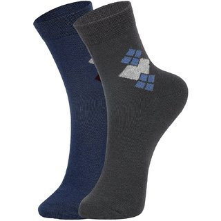DUKK Men's Blue  Grey Ankle Length Cotton Lycra Socks (Pack of 2)
