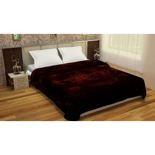 Spangle Solid Dark Brown Mink Double Bed Blanket