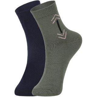 DUKK Men's Blue  Green Ankle Length Cotton Lycra Socks (Pack of 2)