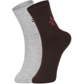 DUKK Men's Grey  Brown Ankle Length Cotton Lycra Socks (Pack of 2)