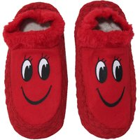 Neska Moda Premium Smily Soft Cotton and Fur Women Booties Cum Indoor Slippers 24 CM Length Red Black Color