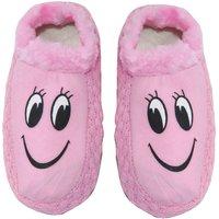 Neska Moda Premium Smily Soft Cotton and Fur Womens Booties Cum Indoor Slippers 24 CM Length Pink Black Color