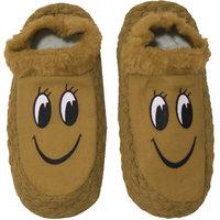 Neska Moda Premium Smily Soft Cotton and Fur Womens Booties Cum Indoor Slippers 24 CM Length Brown Black Color