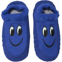 Neska Moda Premium Smily Soft Cotton and Fur Women Booties Cum Indoor Slippers Blue Black S273