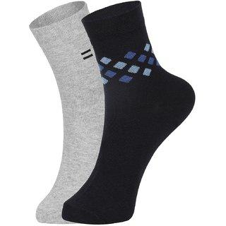 DUKK Men's Grey  Blue Ankle Length Cotton Lycra Socks (Pack of 2)