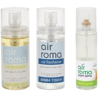 AirRoma Combo Of Aqua Lime Fresh  Denim Touch Car Fresheners 60ml  Lemon Grass Air Freshener Spray 200ml