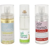 AirRoma Combo Of 3 Aqua Lime Fresh  Original Rose Car Fresheners 60ml  Lemon Grass Air Freshener Spray 200ml