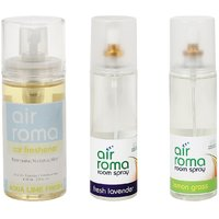 AirRoma Combo Of Fresh Lavender  Lemon Grass Air Freshener Sprays 200ml  Aqua Lime Fresh Car Freshener 60ml
