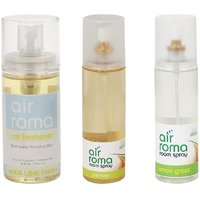 AirRoma Combo Of Jasmine  Lemon Grass Air Freshener Sprays 200ml  Aqua Lime Fresh Car Freshener 60ml