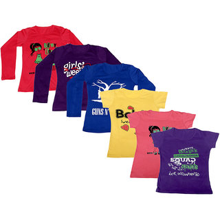IndiWeaves Women Combo Pack Offer 3 Full Sleeves and 3 Half Sleeves Printed T-Shirt (Set of -6)