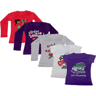 IndiWeaves Women Combo Pack Offer 3 Full Sleeves and 2 Half Sleeves Printed T-Shirt (Set of -5)