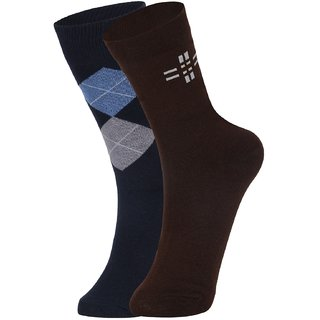 DUKK Men's Navy Blue  Brown Glean Length Cotton Lycra Socks (Pack of 2)
