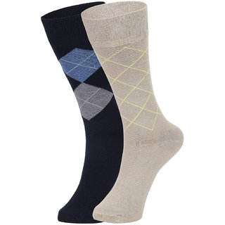 DUKK Men's Navy Blue  Beige Glean Length Cotton Lycra Socks (Pack of 2)